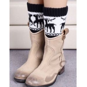 Black and White Fairisle Boot Cuffs
